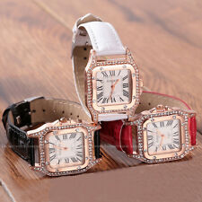 14K Rose Golden Plated Crystal Case Leather Analog Ladies Womens Watches Quartz