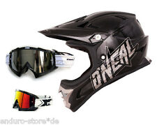 ONEAL Fury Evo Helm plain black Downhill DH MTB + TWO-X Race MX Brille