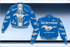 Ford Mustang Blue Racing Jacket Collage Embroidered Logos Twill Adult Jacket