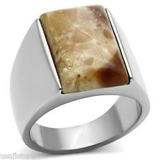 Mens Brown Agate Stone Silver Stainless Steel Ring