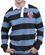 The Hundreds Streetwear Striped Crest Logo Long Sleeve Polo Shirt Blue