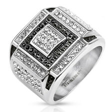 Stainless Steel Micro Paved Black & Clear CZ Square Pattern Men's Ring Size 9-13