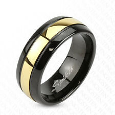 Tungsten Men's Black with Gold Center Stripe Domed Band Ring Size 9-13