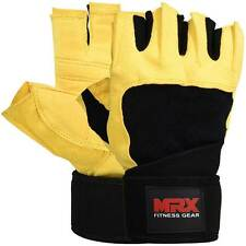 MRX Weight Lifting Gloves Gym Training Fitness Glove Long Wrist Straps Y/B