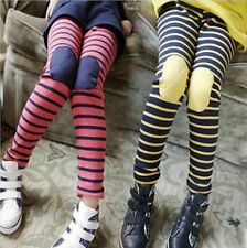 Girls Kid Clothes Slim Skinny Stripe Patch Leggings Pant Trousers Size 4-9 Years