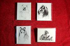 Samoyed / Sheltie / Deerhound / Shih Tzu / Pen and Ink / Note or Greeting Cards