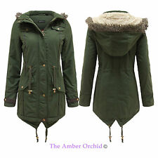 LADIES WOMENS OVERSIZED FUR HOOD FISHTAIL MILITARY PARKA WINTER JACKET COAT 8-22