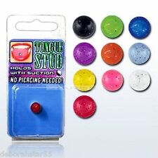 Fake Body Jewellery Fake Cheat Illusion Tongue Stud Bar UV GLOW IN THE DARK