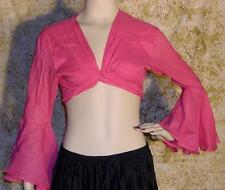 Tribal Gypsy Midrif Belly Dance Cotton Top Solid White Fuchsia Pink S M L XL $20