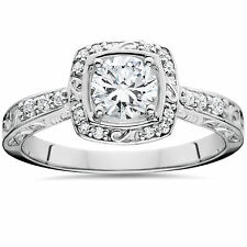 .90CT Vintage Sculptural Diamond Cushion Halo Engagement Ring 14K White Gold 4-9