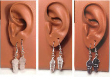 EARRINGS - HANDMADE SILVER WIRE WRAPPED DOUBLE POINT CRYSTAL DANGLE -PROTECTION