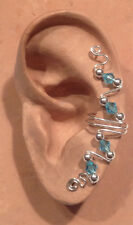 HANDMADE SS OR 14KGF WIRE WRAPPED EAR IVY FULL CUFF GENUINE AUSTRIAN CRYSTALS