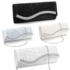 Floral Lace Satin Crystal Evening Clutch Wedding Bridesmaid Handbag Purse