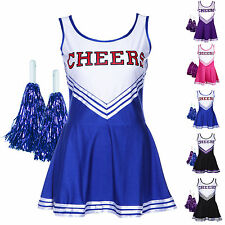 HIGH SCHOOL MUSICAL CHEER GIRL CHEERLEADER UNIFORM COSTUME OUTFIT W/ POM POMS