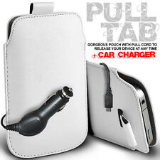 LEATHER PULL TAB POUCH SKIN CASE COVER & CAR CHARGER FOR VARIOUS LG PHONES