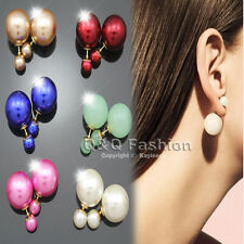 Chic Celebrity Runway Style Double Pearl Bead Gold MUST HAVE Earrings Ear Stud