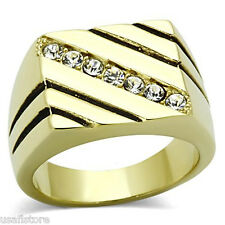 Mens Diagonal Seven Stone Gold Plated Stainless Steel Ring