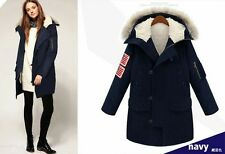 Chic Womens Thick Navy Hood Faux Raccoon Trench Coats Padded Vest Elastic Waist