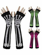 New Women Lady Girl Punk Gothic Rock Skeleton Long Arm Warmer Fingerless Gloves