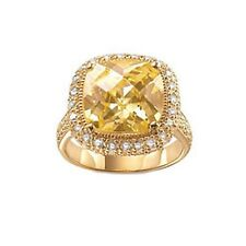 Palmbeach 18k Gold over Sterling Silver Yellow Cubic Zirconia Ring