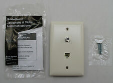 Legrand Wall Plate Phone Jack RJ-11 Cable Coax M/M F-Type Security Video Coaxial