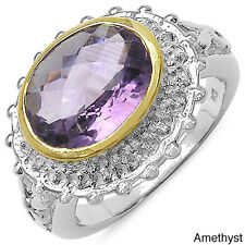 Malaika Sterling Silver Gold-banded Oval-cut Gemstone and White Topaz Ring