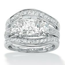PalmBeach 2.89 TCW Princess-Cut Cubic Zirconia Platinum-Plated Bridal Engagement