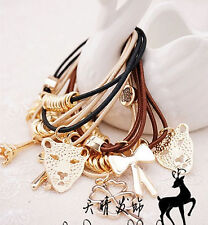 1PC New Women Girls Fashion bow Leopard Elastic Ponytail brown Hair Band Holder