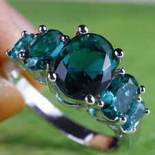 Delicate Oval Cut Green Sapphire Gemstone Silver Ring Size 6 7 8 9 10 Free Ship
