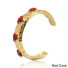 De Buman 14k Goldplated Coral, Lapis, Shell or Blue Jade Cuff Bracelet