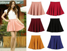 Fashion Women's Stretch Waist Plain Skater Flared Pleated Mini Skirt Candy Color