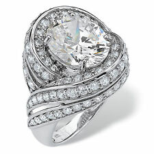 PalmBeach 7.19 TCW Oval Cut Cubic Zirconia Swirl Cocktail Ring in Platinum over