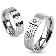 Stainless Steel Love You Forever Engraved Band Ring with CZ Sizes 5 - 13