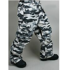 ro men's snowboard pants waterproof camouflage white army cargo US S,M,L,XL,2XL
