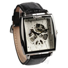 New OULM Leather Band Rectangle Skeleton Mechanical Men Sport WristWatch Gifts