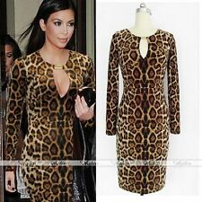 Sexy Women Leopard Print Keyhole Celeb Party Bodycon Dress Prom Cocktail Evening
