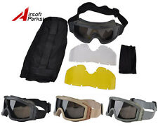 Tactical Military Airsoft Paintball Hunting Safety Goggle Glasses w/ 3pc of Lens