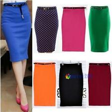 Womens Lady High Waisted Belted Pencil Skirt Stretch Bodycon Knee Length Shirt