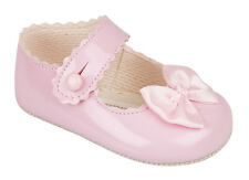 BABY SHOES GIRLS BUTTON BAR SHOES WITH SATIN BOW