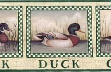 Duck Goose Green Checkered Aged Mens Hunters Special Roll Wall Wallpaper Border