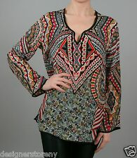 Tolani Lolita Silk Printed Tunic Blouse Top in Cement 8555