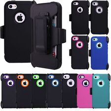Heavy Duty Defender Dirt/Shockproof Case Cover +Belt Clip Holster for iPhone 5c