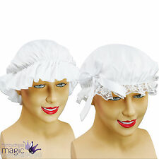 Ladies Womens Girls White Victorian Maid Poor Tudor Fancy Dress Costume Mob Cap
