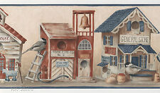 Country Birds Town General Store Bird Houses Rustic Wall Wallpaper Border