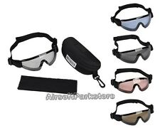 Airsoft Tactical Full Set UV400 Low Profile Eyewear Goggle Glasses 5 Colors