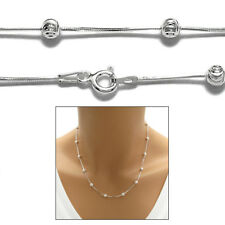 925 Sterling Silver Glitzy Diamond cut Snake Chain necklace w/ Laser Cut Beads