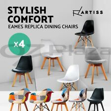 4 x Retro Replica Eames DSW Dining Chair DAW Armchair Padded Fabric ABS