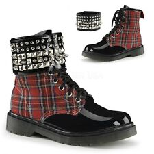 DEMONIA RAGE-106 Women's Red Plaid & Black Studded Ankle Cuff Punk Combat Boots