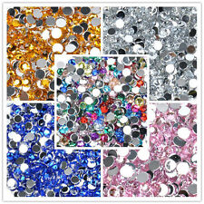 Wholesale 1000pcs Crystal Flat Back Acrylic Rhinestones Gems 5 Sizes 5 Colors