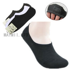 3 Pairs Nonslip Bamboo Fiber Socks Cotton Ankle Boat Low-cut No-show Silicon BS